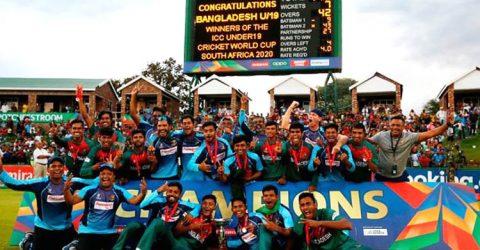 অনূর্ধ্ব-১৯ ক্রিকেট দলকে গণসংবর্ধনা দেবে সরকার